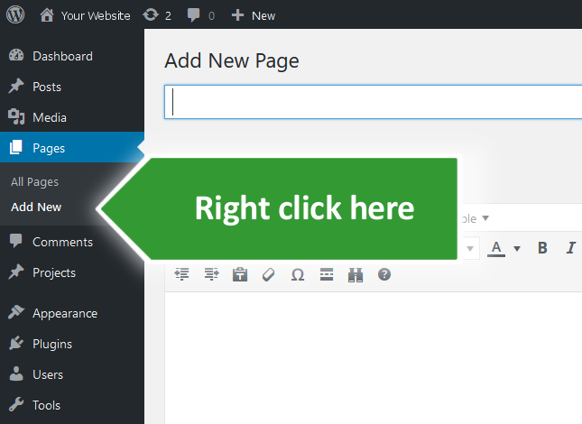 Right click on WordPress Add New page link.